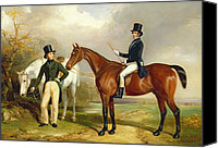 Hunt Canvas Prints - Two Gentlemen Out Hunting  Canvas Print by Henry Barraud
