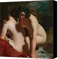 Caress Canvas Prints - Two Girls Bathing Canvas Print by William Etty