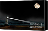 Moon Canvas Prints - Two Guiding Lights Canvas Print by Meirion Matthias
