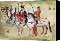 Horsemen Canvas Prints - Two Horsemen in a Landscape Canvas Print by Chinese School