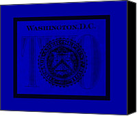 D.c. Digital Art Canvas Prints - TWO in BLUE Canvas Print by Rob Hans