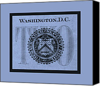 D.c. Digital Art Canvas Prints - TWO in CYAN Canvas Print by Rob Hans