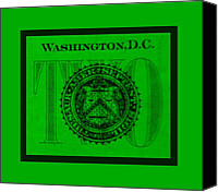 D.c. Digital Art Canvas Prints - TWO in GREEN Canvas Print by Rob Hans