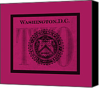 D.c. Digital Art Canvas Prints - TWO in HOT PINK Canvas Print by Rob Hans
