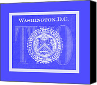 D.c. Digital Art Canvas Prints - TWO in NEGATIVE BLUE Canvas Print by Rob Hans