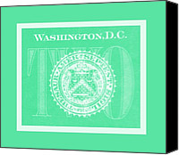 D.c. Digital Art Canvas Prints - TWO in NEGATIVE GREEN Canvas Print by Rob Hans