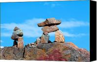 Mountain Sculpture Photo Canvas Prints - Two inukshuk Canvas Print by Ivan SABO