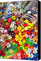 Gambling Canvas Prints - Two jars dice and buttons Canvas Print by Garry Gay