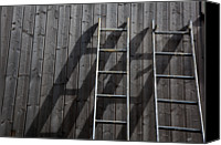 Log Cabin Photo Canvas Prints - Two Ladders Leaning Against A Wooden Wall Canvas Print by Meera Lee Sethi