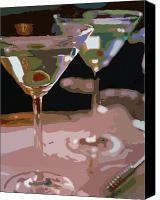 Bars Painting Canvas Prints - Two Martini Lunch Canvas Print by David Lloyd Glover