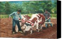 Farming Pastels Canvas Prints - Two Men And Oxen Canvas Print by Lisa Pope