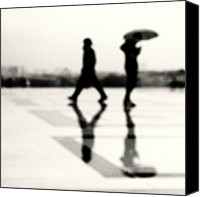 Ile De France Canvas Prints - Two Men In Rain With Their Reflections Canvas Print by Nadia Draoui