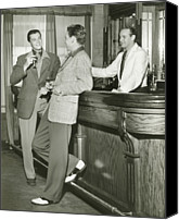 Talking Canvas Prints - Two Men Talking At Bar Counter Canvas Print by George Marks