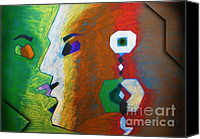Two Pastels Canvas Prints - Two Minds  Canvas Print by Sanjeev Kumar Babbar