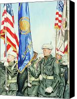 Parade Painting Canvas Prints - Two Months After 9-11  Veterans Day 2001 Canvas Print by Carolyn Coffey Wallace