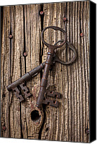 Things Canvas Prints - Two old skeletons keys Canvas Print by Garry Gay