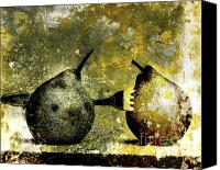 Food And Beverage Canvas Prints - Two pears pierced by a fork. Canvas Print by Bernard Jaubert