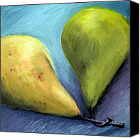 Food And Beverage Canvas Prints - Two Pears Still Life Canvas Print by Michelle Calkins