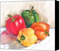 Food Painting Canvas Prints - Two Peppers Canvas Print by Diane Ziemski