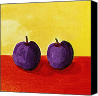 Simple Painting Canvas Prints - Two Plums Canvas Print by Michelle Calkins