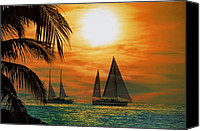 Sunset Digital Art Canvas Prints - Two Ships Passing in the Night Canvas Print by Bill Cannon