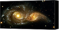 Cosmic Canvas Prints - Two Spiral Galaxies Canvas Print by The  Vault
