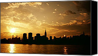 Nyc Canvas Prints - Two Suns - The New York City Skyline in Silhouette at Sunset Canvas Print by Vivienne Gucwa