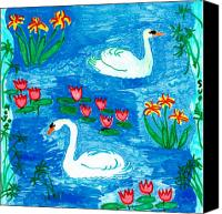 Birds Ceramics Canvas Prints - Two Swans Canvas Print by Sushila Burgess