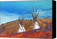 Montana Digital Art Canvas Prints - Two Teepees Canvas Print by Kae Cheatham