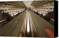Rail Vehicles Canvas Prints - Two Trains Passing In The Dupont Circle Canvas Print by Rich Reid