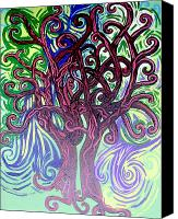 Mother Earth Canvas Prints - Two Trees Twining Canvas Print by Genevieve Esson