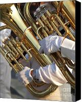 Brass Band Canvas Prints - Two Tuba Players Canvas Print by Yali Shi