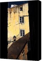 Yellow Building Canvas Prints - Two Windows in Lisbon Canvas Print by John Rizzuto