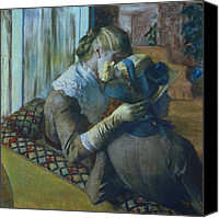 Caress Canvas Prints - Two Women Canvas Print by Edgar Degas