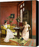 Library Painting Canvas Prints - Two Women Reading in an Interior  Canvas Print by Jean Georges Ferry