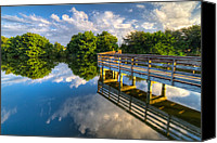 Cay Canvas Prints - Two Worlds at Wakodahatchee Canvas Print by Debra and Dave Vanderlaan