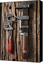 Heavy Texture Canvas Prints - Two wrenches Canvas Print by Garry Gay