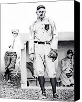 Baseball Painting Canvas Prints - Ty Cobb Canvas Print by Ferrel Cordle