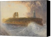Ruin Painting Canvas Prints - Tynemouth Pier Canvas Print by Alfred William Hunt