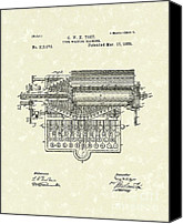 Typewriter Canvas Prints - Type Writer 1885 Patent Art Canvas Print by Prior Art Design