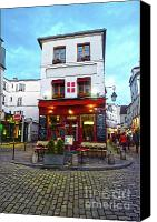 Corner Cafe Canvas Prints - Typical Parisian cafe in Montmartre Canvas Print by Giancarlo Liguori