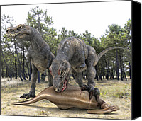 T Rex Canvas Prints - Tyrannosaurus Rex Dinosaurs Canvas Print by Roger Harris