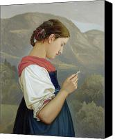 Half-length Painting Canvas Prints - Tyrolean Girl Contemplating a Crucifix Canvas Print by Rudolph Friedrich Wasmann