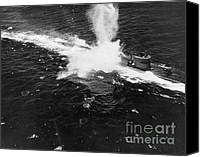 Naval Warfare Canvas Prints - U-boat Under Attack, 1943 Canvas Print by Omikron