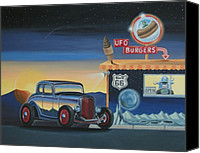 Custom Ford Painting Canvas Prints - U.F.O. Burgers Canvas Print by Stuart Swartz