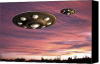 Fiction Drawings Canvas Prints - UFO Landing Canvas Print by Friedrich Saurer and Photo Researchers