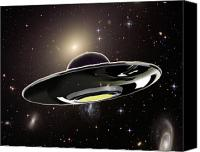 Fiction Drawings Canvas Prints - Ufo Canvas Print by Spencer Sutton and Photo Researchers