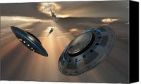 Paranormal  Digital Art Canvas Prints - Ufos And Fighter Planes In The Skies Canvas Print by Mark Stevenson