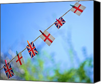 Flag Canvas Prints - Uk And English Flags On Rope Line Canvas Print by Alexandre Fundone