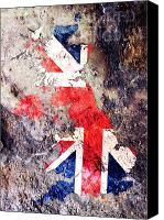 Flag Digital Art Canvas Prints - UK Flag Map Canvas Print by Michael Tompsett